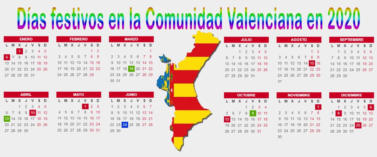 Calendario Laboral 2020 Comunidad Valenciana.Dias Festivos En La Comunidad Valenciana En 2020
